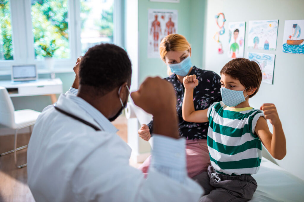 Provider interacting with a child